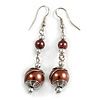 Chocolate Brown Glass Bead with Wire Drop Earrings In Silver Tone - 6cm Long