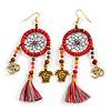 Multicoloured Cotton Cord Dream Catcher Dangle Earrings in Gold Tone - 11cm Long