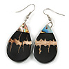 Teardrop Black Shell Drop Earrings - 55mm Long