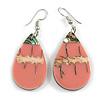 Teardrop Dusty Pink Shell Drop Earrings - 55mm Long