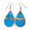 Teardrop Blue Shell Drop Earrings - 55mm Long