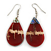 Teardrop Ox Blood Red Shell Drop Earrings - 55mm Long