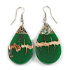 Teardrop Green Shell Drop Earrings - 55mm Long