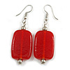 Red Glass Square Drop Earrings In Silver Tone - 55mm L