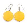 Light Yellow Shell Coin Drop Earrings In Silver Finish - 45mm Long