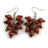 Brown Wooden Bead Cluster Drop Earrings in Silver Tone - 55mm Long