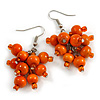 Orange Wooden Bead Cluster Drop Earrings in Silver Tone - 55mm Long