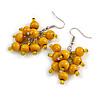 Yellow Wooden Bead Cluster Drop Earrings in Silver Tone - 55mm Long