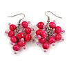Deep Pink Wooden Bead Cluster Drop Earrings in Silver Tone - 55mm Long