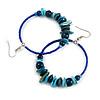 Large Blue/ Teal Glass, Shell, Wood Bead Hoop Earrings In Silver Tone - 75mm Long