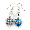 Silver Tone Blue Faux Pearl Drop Earrings - 5cm Long