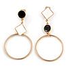 Black/ White Enamel Assymetric Circle Clip-On Earrings In Gold Tone Metal - 60mm L