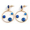 Blue Enamel Dot Circle/ Hoop Drop Earrings In Gold Tone - 40mm Long