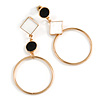 Black/ White Enamel Assymetric Circle Drop Earrings In Gold Tone Metal - 60mm L
