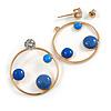 Gold Tone Hoop Front Back Earrings with Blue Enamel Disk - 30mm Diameter