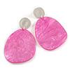 Statement Pink Acrylic Curvy Oval Drop Earrings In Matt Silver Tone - 65mm L