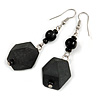 Long Black Faceted Acrylic/ Glass Bead Drop Earrings with Silver Tone Closure - 60mm Long