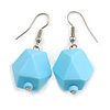 Pastel Blue Faceted Resin Bead Drop Earrings with Silver Tone Closure - 40mm Long