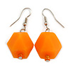 Melon Orange Faceted Resin Bead Drop Earrings with Silver Tone Closure - 40mm Long