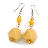 Long Pale Yellow Faceted Resin/ Lemon Yellow Glass Bead Drop Earrings with Silver Tone Closure - 60mm Long