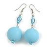 Large Pastel Blue Resin/ Sky Blue Glass Bead Ball Drop Earrings In Silver Tone - 70mm Long