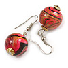 Deep Pink/ Black/ Golden Colour Fusion Wood Bead Drop Earrings with Silver Tone Closure - 40mm Long