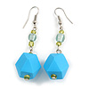 Long Sky Blue Faceted Acrylic/ Lime Green Glass Bead Drop Earrings with Silver Tone Closure - 60mm Long