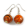 Orange/ Black/ Golden Colour Fusion Wood Bead Drop Earrings with Silver Tone Closure - 40mm Long
