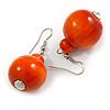 Orange Wood Bead Drop Earrings - 50mm Long
