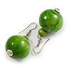 Lime Green Wood Bead Drop Earrings - 50mm Long