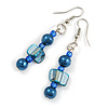 Blue Glass and Shell Bead Drop Earrings with Silver Tone Closure - 6cm Long