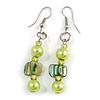Lime/ Green Glass and Shell Bead Drop Earrings with Silver Tone Closure - 6cm Long