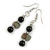 Black Glass and Shell Bead Drop Earrings with Silver Tone Closure - 6cm Long