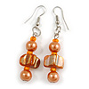 Orange/ Peach Glass and Shell Bead Drop Earrings with Silver Tone Closure - 6cm Long