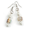 White Glass and Antique White Shell Bead Drop Earrings with Silver Tone Closure - 6cm Long