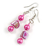 Deep Pink Glass and Magenta Shell Bead Drop Earrings with Silver Tone Closure - 6cm Long