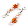 Pale Pink Glass and Orange Shell Bead Drop Earrings with Silver Tone Closure - 6cm Long