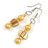 Yellow Glass and Shell Bead Drop Earrings with Silver Tone Closure - 6cm Long