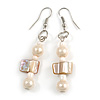 Cream Glass and Antique White Shell Bead Drop Earrings with Silver Tone Closure - 6cm Long