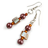 Brown/ Orange Glass and Shell Bead Drop Earrings with Silver Tone Closure - 6cm Long