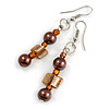 Brown Glass and Burnt Orange Shell Bead Drop Earrings with Silver Tone Closure - 6cm Long