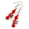 Red Glass and Shell Bead Drop Earrings with Silver Tone Closure - 6cm Long