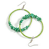 50mm Lime Green Large Glass, Faux Pearl Bead, Semiprecious Stone Hoop Earrings In Silver Tone