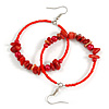 50mm Fire Red Large Glass, Faux Pearl Bead, Semiprecious Stone Hoop Earrings In Silver Tone
