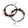 50mm Brown Large Glass, Faux Pearl Bead, Semiprecious Stone Hoop Earrings In Silver Tone