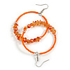 50mm Orange/ Peach Large Glass, Faux Pearl Bead, Semiprecious Stone Hoop Earrings In Silver Tone