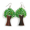 Green Glass Bead Brown Wood Tree Drop Earrings - 70mm Long