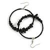 50mm Black Large Glass, Faux Pearl Bead, Semiprecious Stone Hoop Earrings In Silver Tone