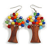 Multicoloured Glass Bead Brown Wood Tree Drop Earrings - 70mm Long