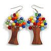 Multicoloured Glass Bead Brown Wood Tree Drop Earrings - 70mm Long